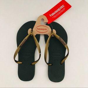 Havaianas Size 6 W Flip Flops Green Gold Sandals